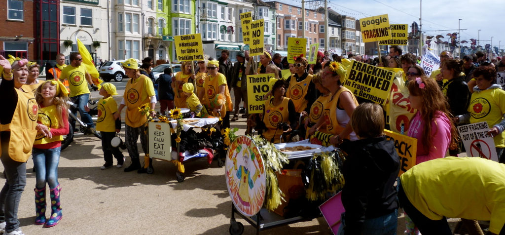 A local demonstration for local people. Nanas to the front. Advance!