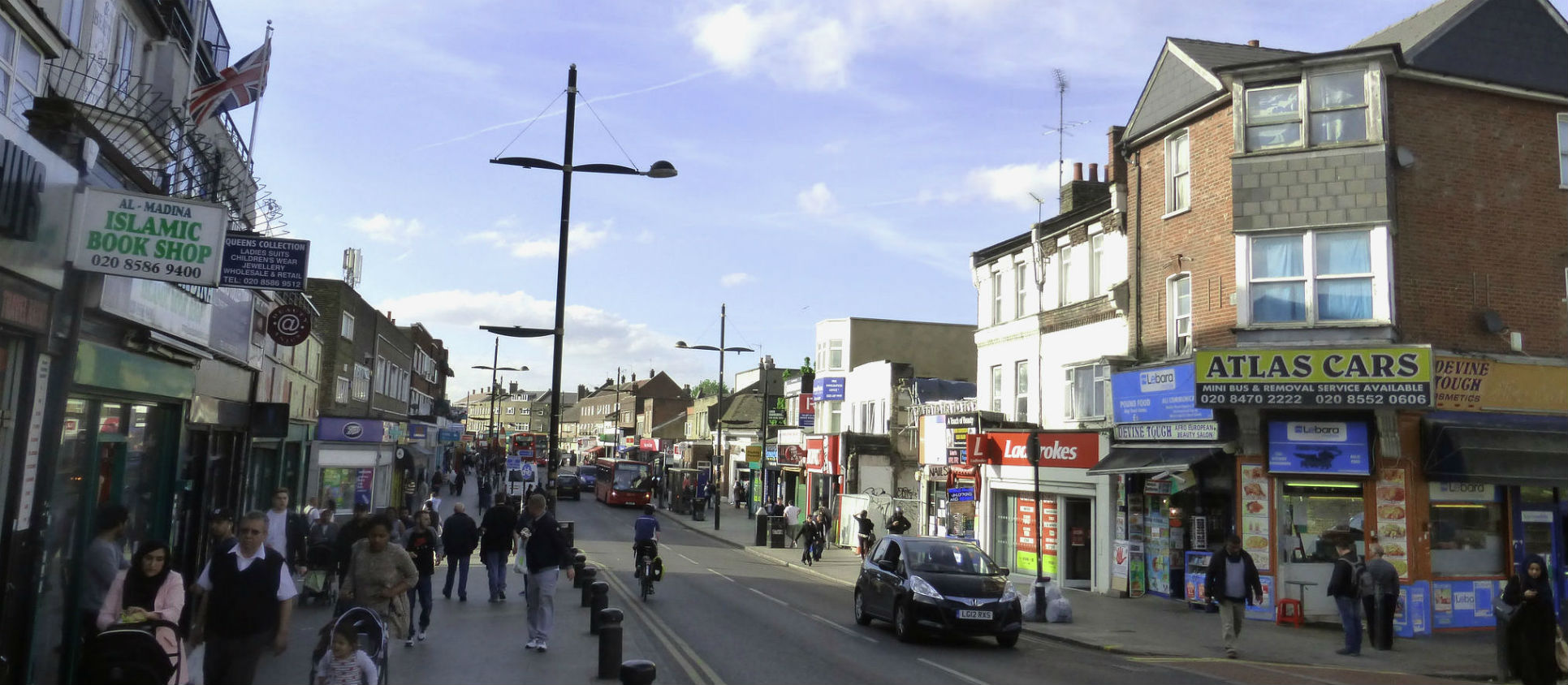 High street in Upton Park, Newham, London