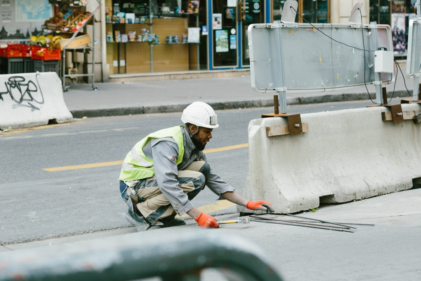 Construction worker working on road