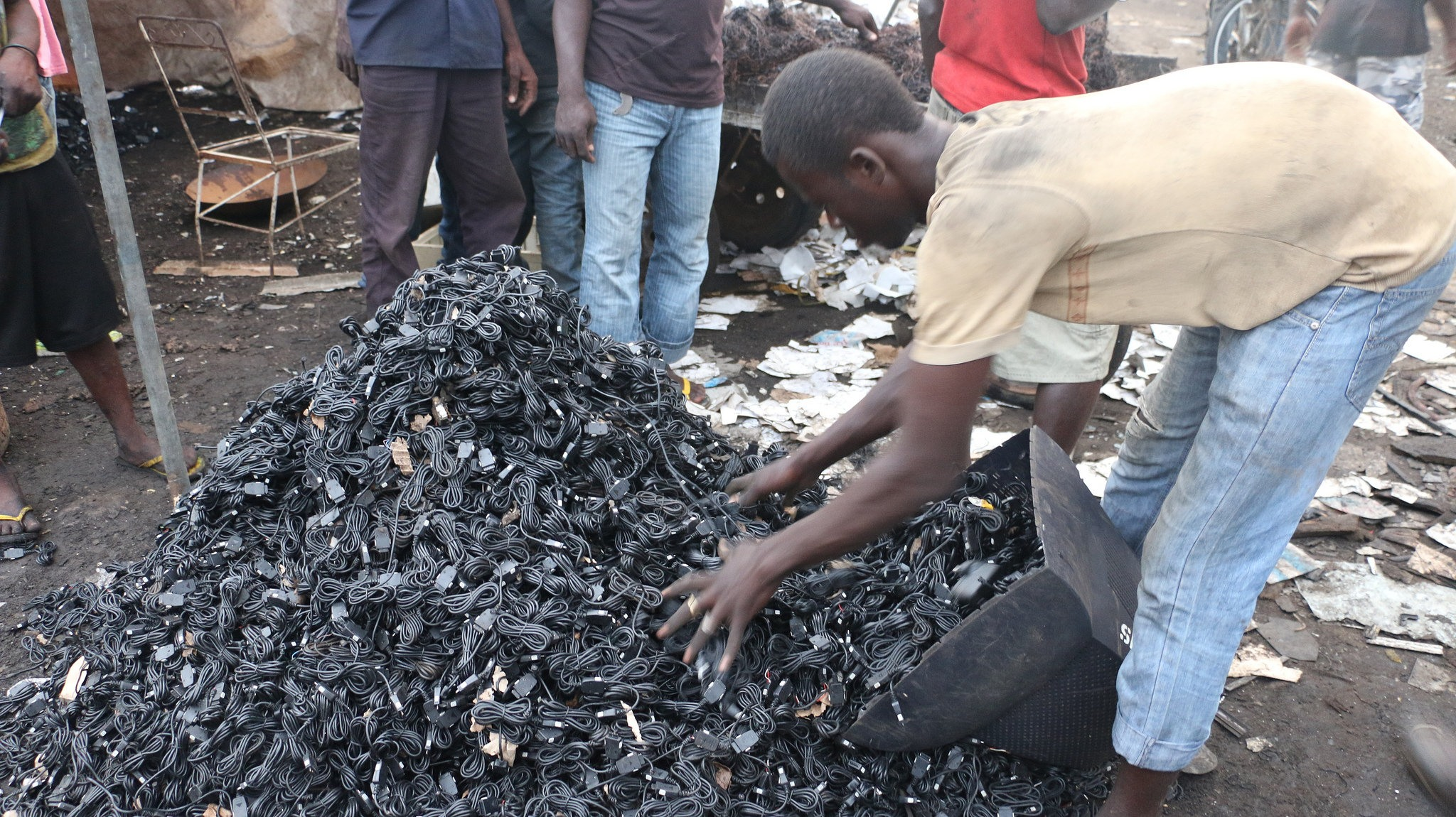 Image: Chargers collected as electronics dump, Agbogbloshie, Ghana. Fairphone