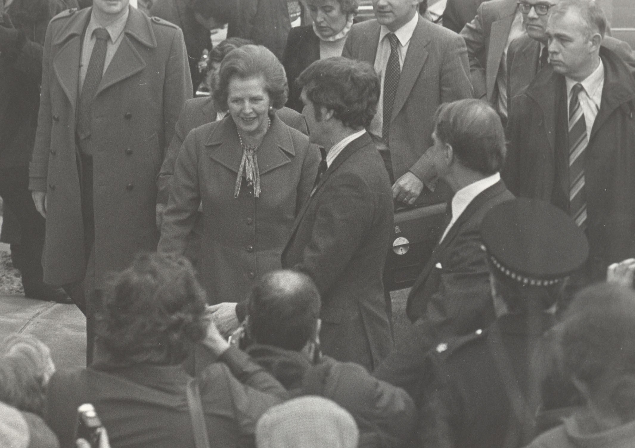 Margaret Thatcher visiting the University of Salford, 1982
