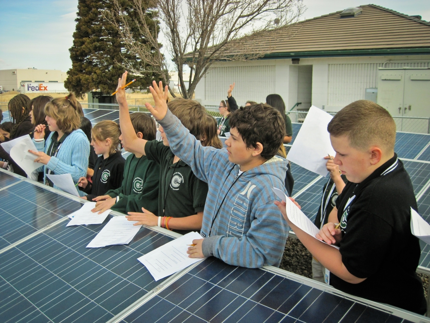 Children learning about solar panels.